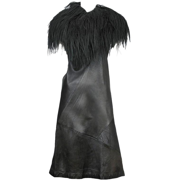 Junya Watanabe Leather and Fur Dress  For Sale