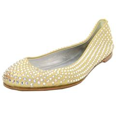 Giuseppe Zanotti Metallic Gold Leather & Crystal Embellished Flats sz 7