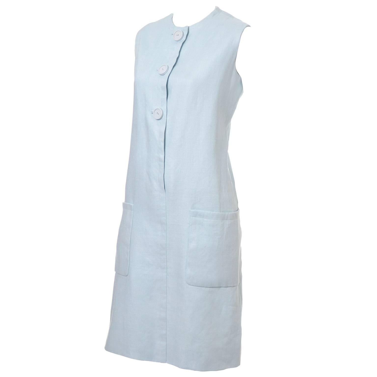 Norman Norell Vintage Dress from I Magnin in Blue Linen with Pockets