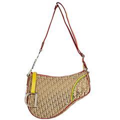 Brown Christian Dior Monogram Woven Saddle Bag