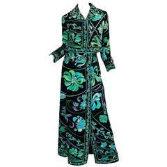 1960s Vivid Emilio Pucci Print Velvet Jacket & Maxi Skirt