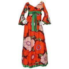 1970s Red Floral Print Silk Organza Mollie Parnis Dress