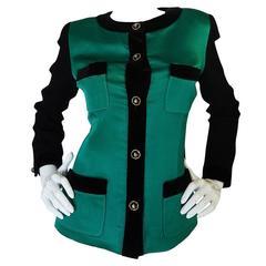 1980s Chanel Emerald Green Silk Satin Front Black Jacket