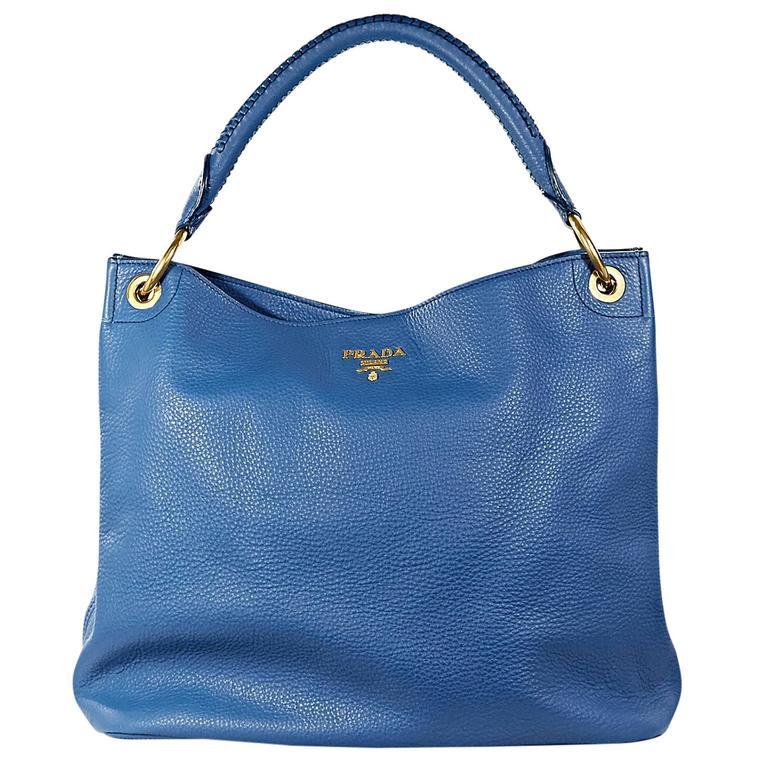 Blue Prada Leather Vitello Daino Ring Hobo Bag For