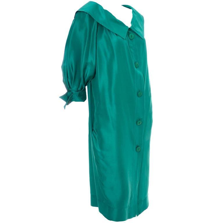 Vintage YSL Dress Yves Saint Laurent Rive Gauche Size 38 Green Silk 1970s