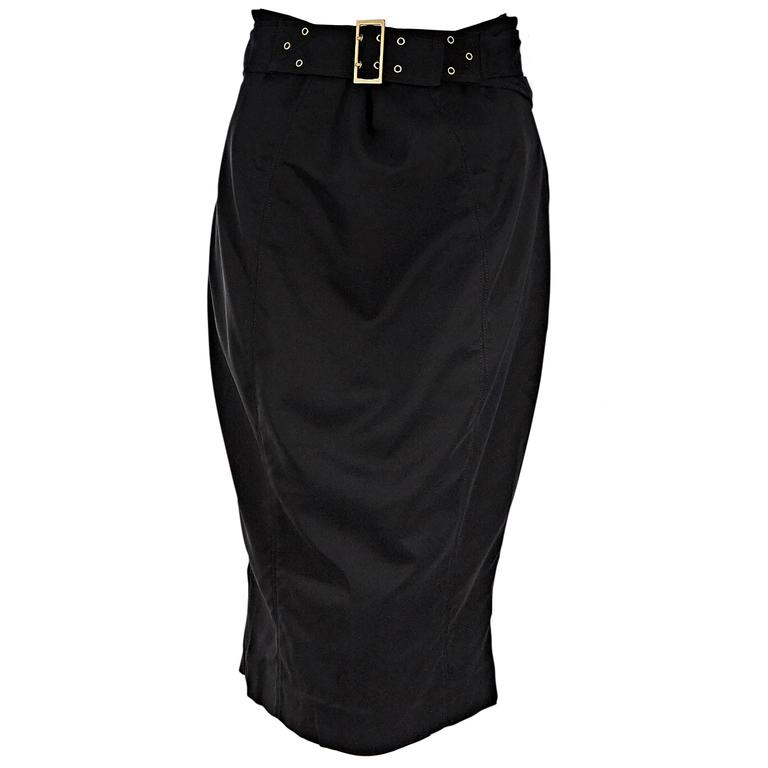 Black Gucci Belted Cotton Pencil Skirt