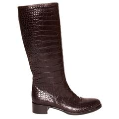 Prada Brown Knee High Crocodile Boots