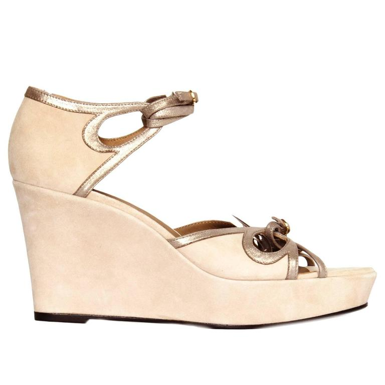 Hermès Taupe Suede Wedge Sandals