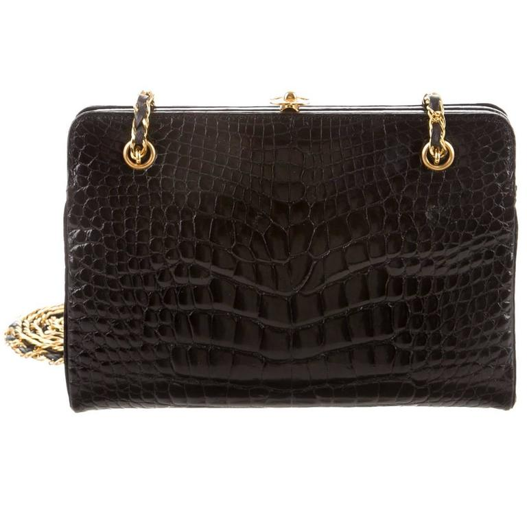 eb88067e649d Chanel Rare Black Alligator Leather Gold Chain Flap Evening Cross Shoulder  Bag For Sale