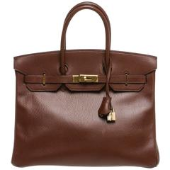 HERMES burgundy box leather \u0026#39;trim bag - 32 cm at 1stdibs