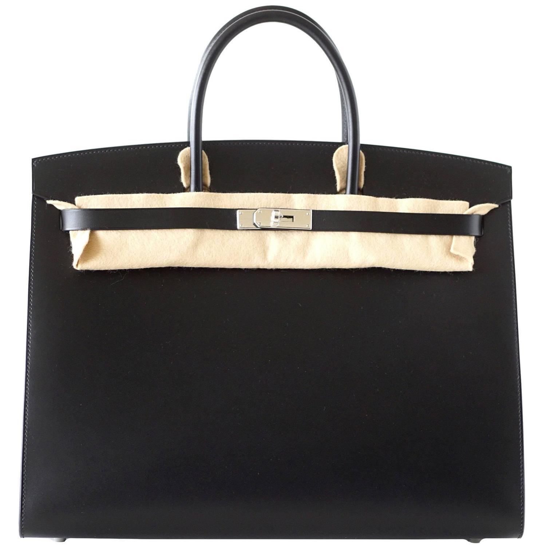 counterfeit hermes bags - HERMES BIRKIN 40 Sellier bag BLACK Vache Hunter/Veau Evercalf Rare ...