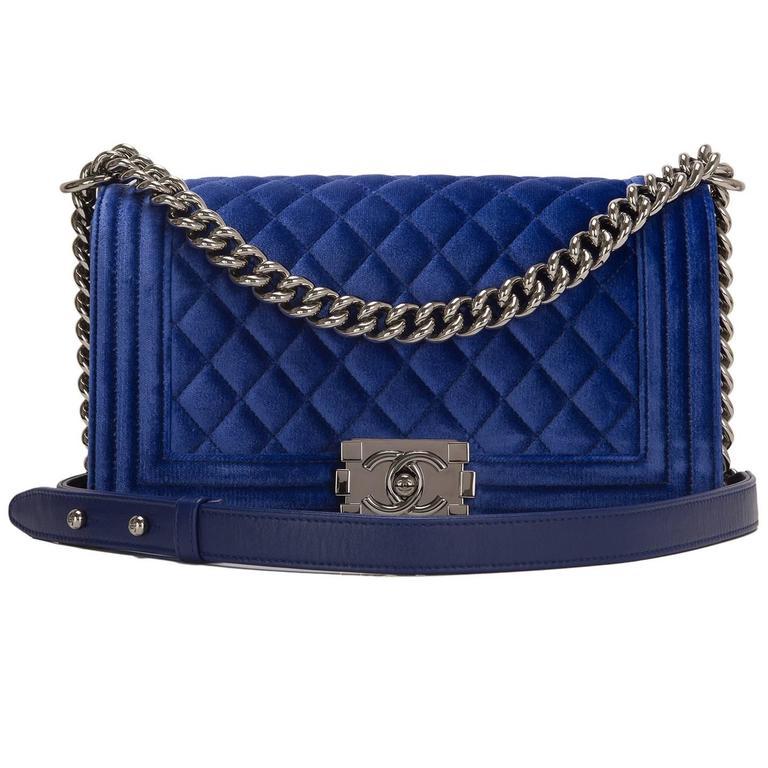 Chanel Blue Quilted Velvet Medium Boy Shoulder Bag For Sale