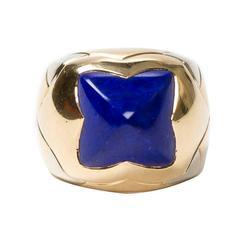 Pyramid Lapiz Lazuli Yellow Gold Ring