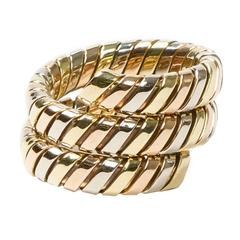 Tubogas Serpenti Tri gold Ring