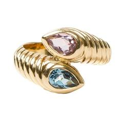Spinel  Blue Topaz Yellow Gold Ring