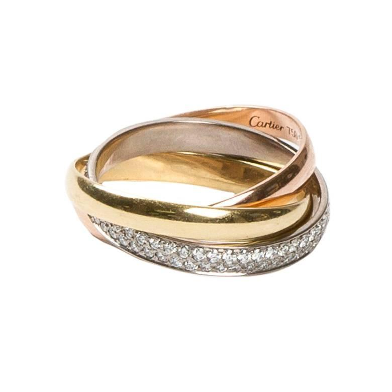 cartier pave three color gold ring at 1stdibs