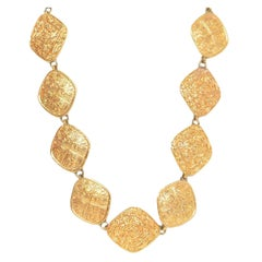 Chanel Textured Gold Diamond-Shape Medallion Belt/Necklace
