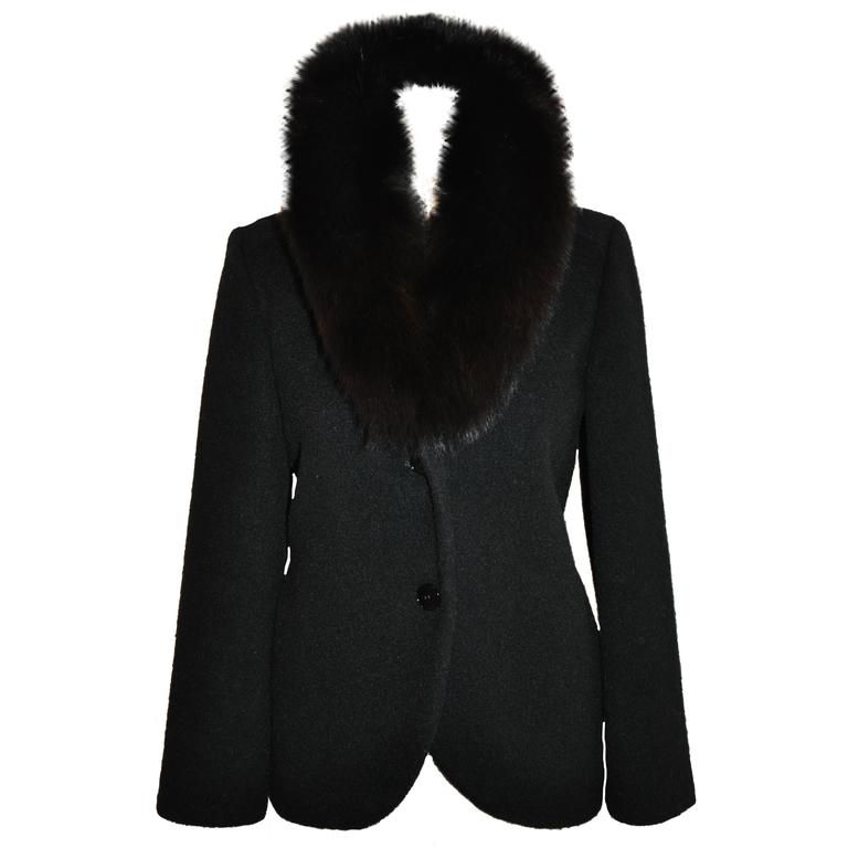 "Pierre Cardin ""Boutique"" Black Wool Accented with Fox Collar Evening Jacket For Sale"