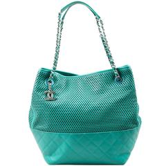 "Chanel Teal Leather Perforated Quilted ""Up in the Air"" Chain Handle Tote Bag"