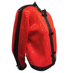 St. John Red and Black Zipper-Front Rayon Knit Jacket w Bar Sequins