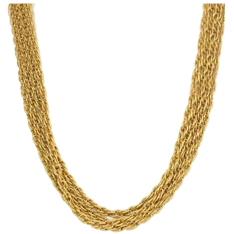 Chanel Vintage '90s Gold Double Strand Chain Link Necklace 1
