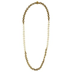 Chanel Vintage '80s Gold Cable Chain Link & Pearl Necklace