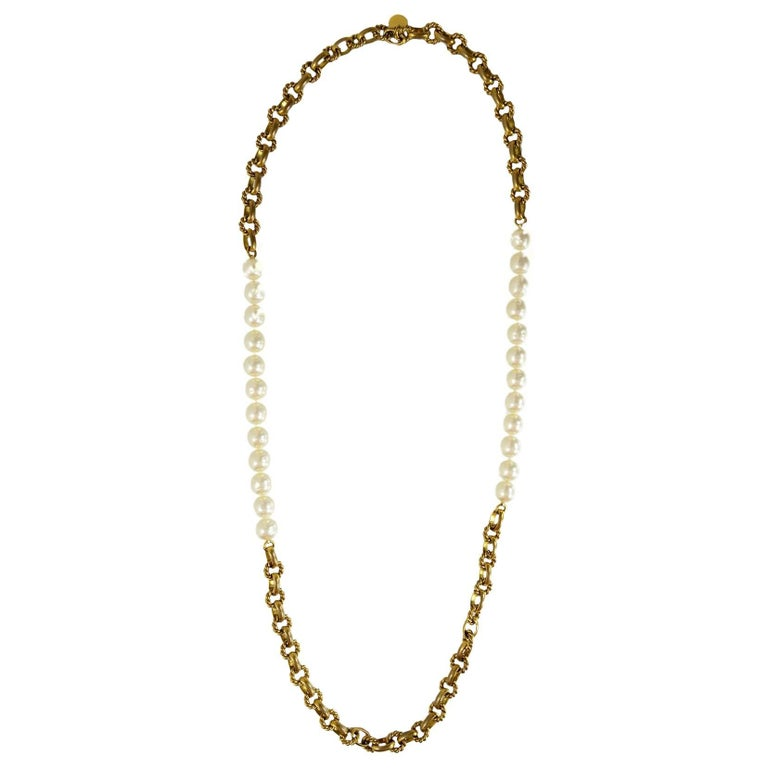 Chanel Vintage '80s Gold Cable Chain Link & Pearl Necklace For Sale