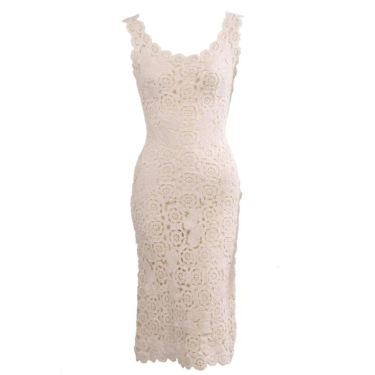 1960's Hand Crocheted White Raffia Sheath Dress