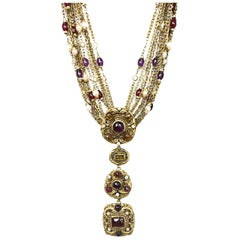 Chanel Vintage '84 Gold Multi-Strand Gripoix & Pearl Long Medallion Necklace