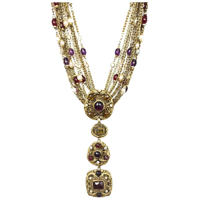 Chanel Vintage '84 Gold Multi-Strand Gripoix & Pearl Long Medallion Necklace 1