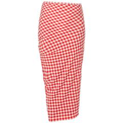 Comme Des Garcons red & white checked skirt, Spring/Summer 1997