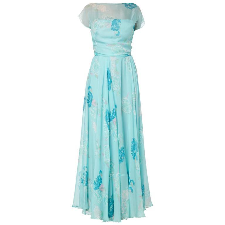 Norman Hartnell floral dress, circa 1949