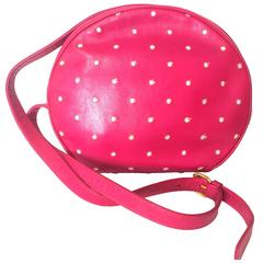 Vintage Valentino Garavani pink  round shape shoulder bag with white emboroidery