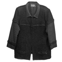 Chanel Black Heavy Boucle Overcoat sz FR50