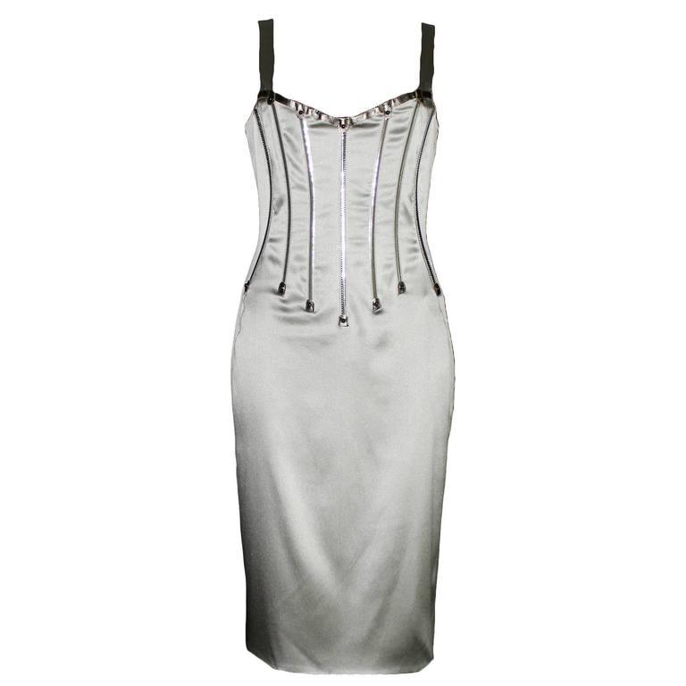 Dolce & Gabbana Silver Grey Stretch Silk Leather Dress For Sale