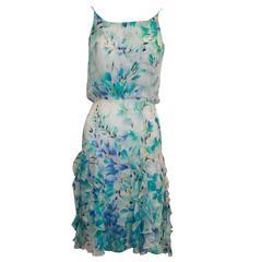 Oscar de la Renta White & Blue Silk Chiffon Floral Ruffle Dress - 4