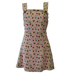 Istante Gianni Versace Foral Silk Pinafore Featuring Iconic Buttons