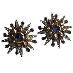Sterling RETRO 1940s Faux Sapphire and Diamond Clip Back Earrings