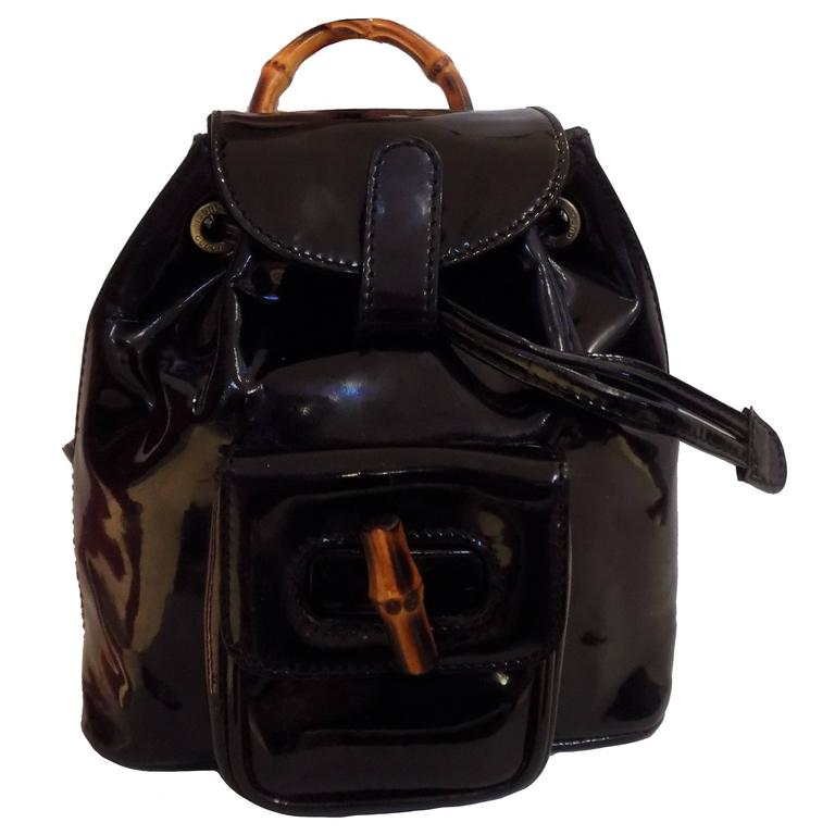 Gucci Bamboo Black Varnish Leather Small Backpack For Sale