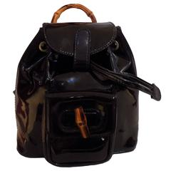 Gucci Bamboo Black Varnish Leather Small Backpack