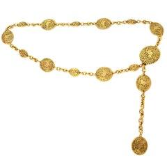 Chanel 1980s Vintage Goldtone Medallion Belt