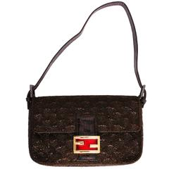 Brown Beaded Fendi Baguette Bag