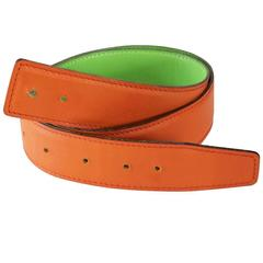 Hermes Reversible Lime Green/Orange Size 72 Leather Belt