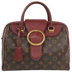 Louis Vuitton Limited Edition Monogram Canvas Red Speedy Top Handle Satchel Bag