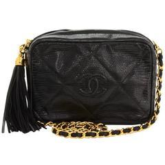 """Vintage Chanel 7"""" Black Lizard Quilted Leather Fringe Shoulder Pochette Bag"""