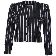 1980s Yves Saint Laurent  Navy and White Striped Crop Jacket