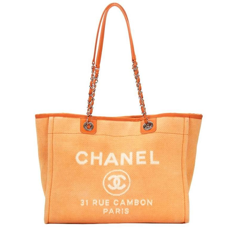 e8709cfb2ba6ad 2015 Chanel Orange Canvas Small Deauville Tote For Sale.