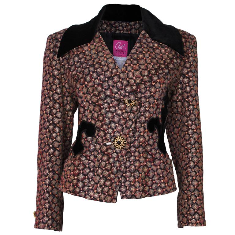 1980s Christian Lacroix Velvet Collared Brocarde Jacket