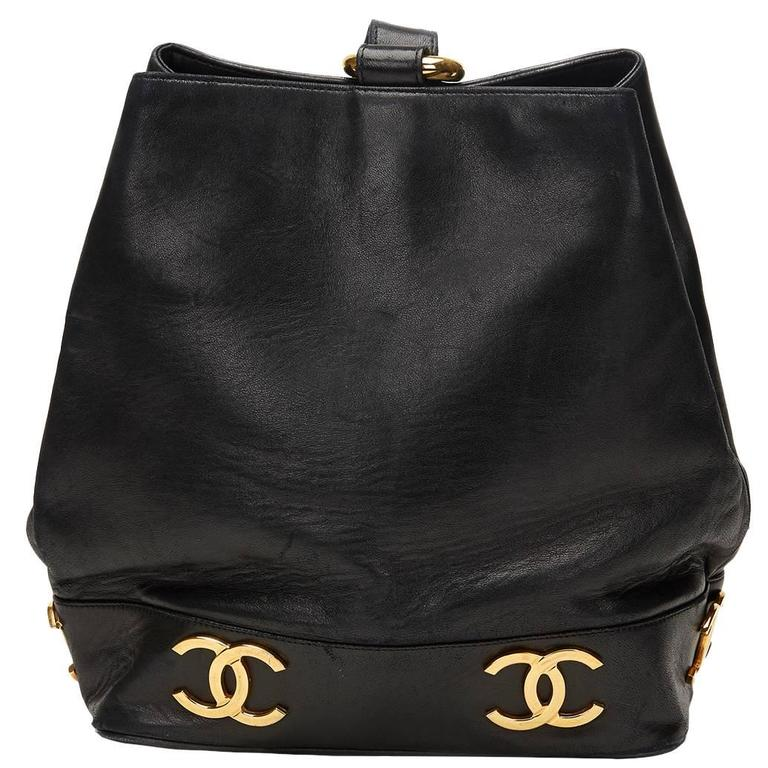 Chanel Black Lambskin Vintage Bucket Bag, 1990s  1