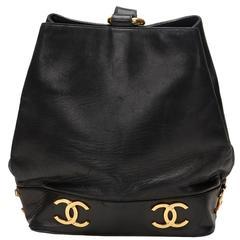 1990's Chanel Black Lambskin Vintage Bucket Bag